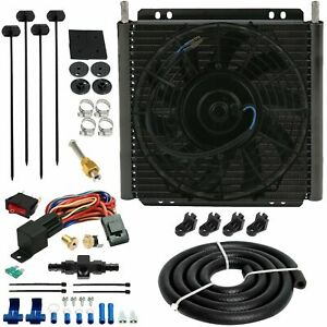 30 Row Trans Mission Oil Cooler Fan 6an In Line Hose 180 F Thermostat Switch Kit
