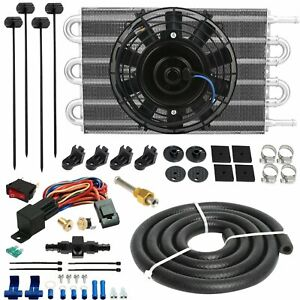 6 Row Engine Transmission Oil Cooler Fan 6an In Hose 180 F Thermostat Switch Kit