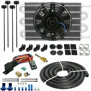 6 Row Engine Transmission Cooler Electric Fan 3 8 Npt 180f Thermostat Wiring Kit