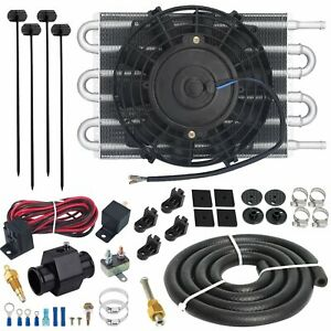 6 Row Transmission Oil Cooler Electric Fan 38mm In Line Thermo Switch Wiring Kit