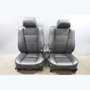 1993 1995 Bmw E34 5 Series Factory Front Seat Pair Black Bison Leather Heated Oe