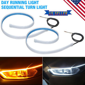 2x60cm Drl Led Light Amber Sequential Flexible Turn Signal Strip For Headlightus