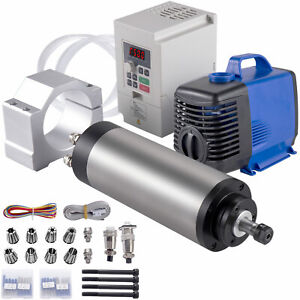 Vevor 1 5kw Water Cooled Spindle Motor 110v Vfd Inverter Clamp Pump Pipe