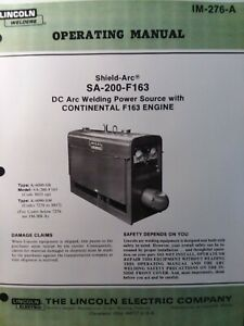 Lincoln Sa 200 Dc Welder Owner Parts Service Manual Pipeliner Gas Engine 1981