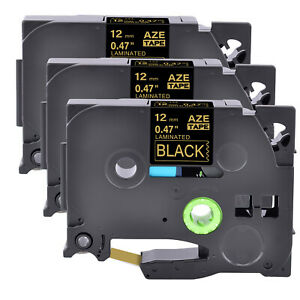 3pk Tz334 Tze334 Gold On Black Label Tape 1 2 For Brother P touch Pt 1300