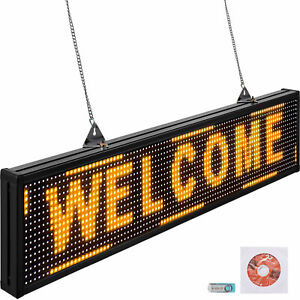 Vevor 38 x6 5 Led Scrolling Sign P10 Programmable Yellow Message Board W Sling