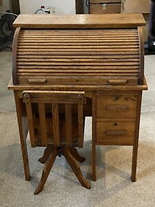 Antique Vintage Wooden Child S Roll Top Desk W 2 Drawers