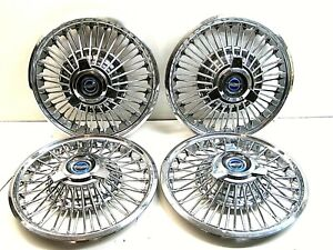 Set 4 1965 1966 1967 Ford Galaxie Mustang Fairlane Spinner Wire Wheel Covers