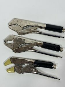 Vintage Craftsman 3 Pc 45607 45606 45604 vise Grip Type Locking Pliers Usa