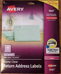 Avery Clear Easy Peel Return Address Labels Laser 1 2 X 1 3 4 2000 Total 5667