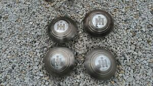 Set Of Four International Truck Dog Dish Bowl 10 Moon Hubcaps Ih 1950 s 60 s