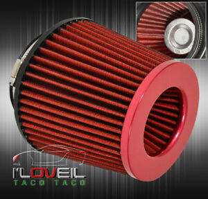 For Nissan 4 Aluminum Top Stainless Mesh Cold Short Ram Air Intake Filter Red