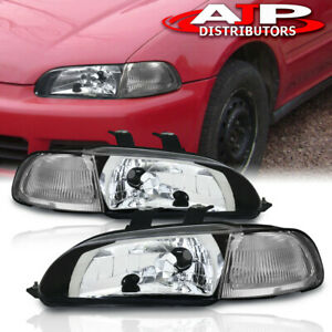 Chrome Headlights Clear Lamps Left Right Pair For 1992 1995 Honda Civic Eg 4dr