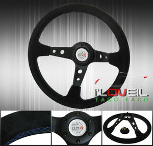 Suede Black Leather Blue Stitching 350mm Steerng Wheel Light Weight 6 bolt Hole