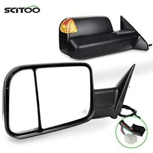 Scitoo Towing Mirrors Dodge Ram 2009 2016 1500 2500 3500 Heated Amber Turn
