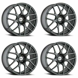 Set 4 19x8 Tsw Nurburgring Matte Gunmetal 5x112 Wheels 45mm Rims W Lugs