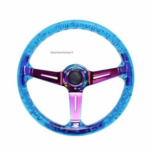 Blue Car Acrylic Steering Wheel Bluing Spokes 350mm 14inch Racing
