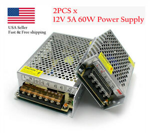 2pcs X 12v 5a 60w Power Supply Adapter Charger Ac To Dc For 5050 3528 Led Strip