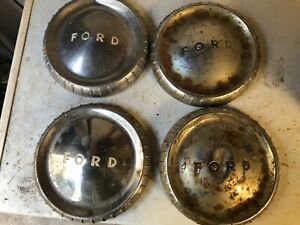 9 5in Vintage Ford Dog Dish Bottle Cap Chrome Hub Caps Set Of 4