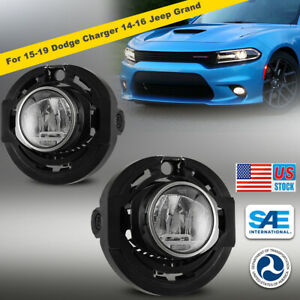 Led Fog Lights Clear Lamp Pair For 15 19 Dodge Charger 14 16 Jeep Grand Cherokee