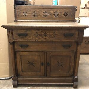 Antique Carved Wood Dresser 2 Drawer Accent Cabinet Changing Table Vanity 1900s