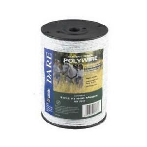 Electric Fence Wire White Poly amp 3 wire Stainless Steel 1 312 ft Spool