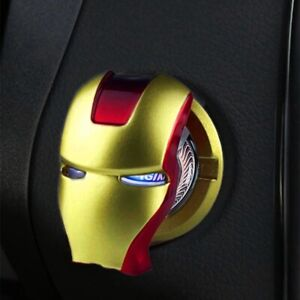 Iron Man Switch Cover Car Trim Interior Start Stop Push Button Engine Ignition