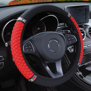 Red 15 37 38cm Car Suv Pu Leather Bling Diamond Steering Wheel Cover Universal