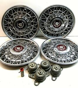 Set 4 15 1986 1992 Cadillac Fleetwood Brougham Locking Wire Wheel Covers Key