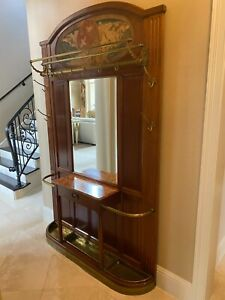 Antique French Mahogany Hall Tree With Beveled Mirror Brass Accents Tapestry