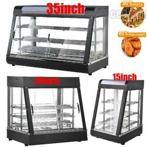 15 26 35 Commercial Food Warmer Court Heat Pizza Display Cabinet Glass New