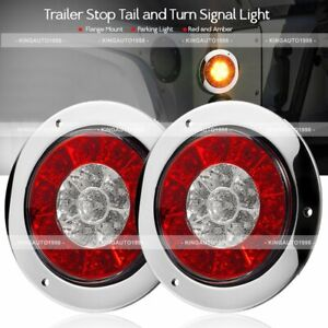 Pair 4 Round Red Amber 16 Led Truck Trailer Brake Stop Turn Signal Tail Lights