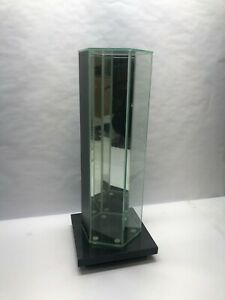 Glass Desktop Displaycase Hexagonal 3 5 Sides 18 Height With Stand