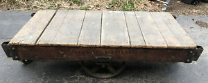 Tall Vintage Towsley Industrial Railroad Cart Coffee Table 60x30x17