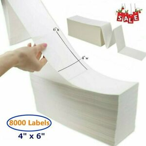 8000 Labels 4x6 Fanfold Direct Thermal Mailing Label Barcode Zebra Printer 2844
