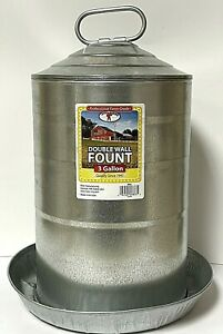 Little Giant 9833 Galvanized Double Wall Poultry Water Fount Steel 3 Gallon