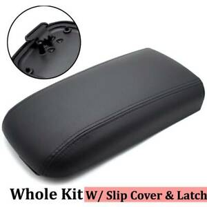 Black Center Console Armrest Lid W latch Leather Cover Tray For Chevy Gmc Envoy