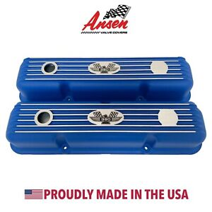 Ford Fe 390 American Eagle Finned Short Blue Valve Covers Ansen Made In Usa