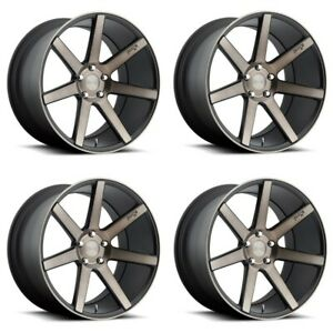 Set 4 19x8 5 Niche M150 Verona Black Machined 5x120 Wheels 35mm Rims W Lugs