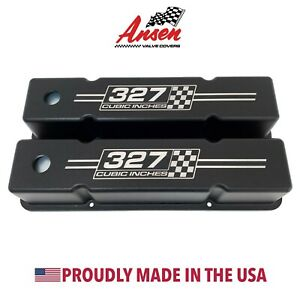 Small Block Chevy Tall Valve Covers black 327 Cubic Inches Logo Ansen Usa