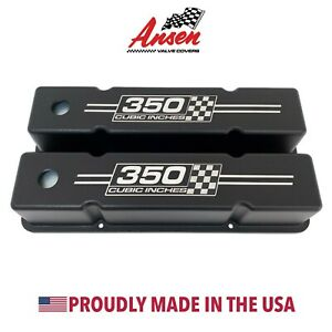 Small Block Chevy Tall Valve Covers black 350 Cubic Inches Logo Ansen Usa