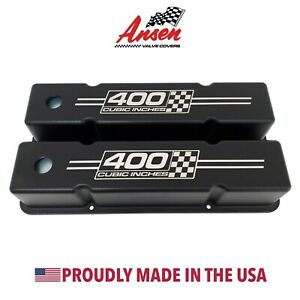 Small Block Chevy Tall Valve Covers black 400 Cubic Inches Logo Ansen Usa