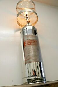 Vintage Fire Extinguisher Table Lamp Light Stainless Upcycled