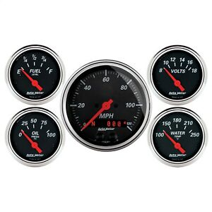 Autometer 1450 Designer Black 5 Gauge Set Fuel oil speedo volt water