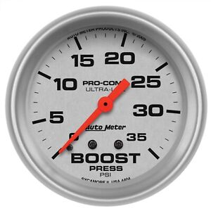 Autometer 4404 Ultra Lite Mechanical Boost Gauge 35 Psi Incl 10 Nylon Tubing
