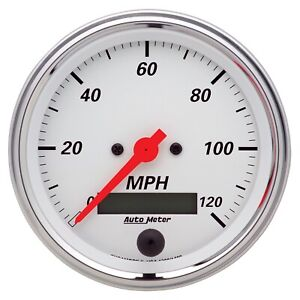 Autometer 1380 Arctic White Electric Programmable Speedometer 3 3 8 120 Mph