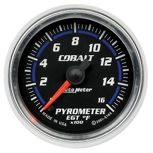 Autometer 6144 Cobalt Electric Pyrometer Gauge Kit 2 1 16 0 1600 Deg F