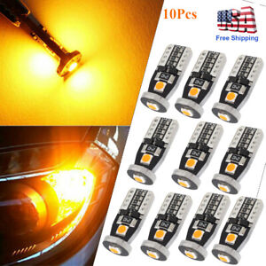 10pc Amber Led Interior Map License Plate Light Bulb T10 2825 168 158 194 Canbus