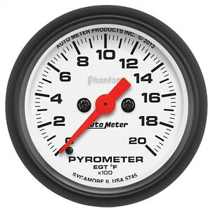 Autometer 5745 Phantom Electric Pyrometer Gauge Kit 2 1 16 0 2000 Deg F