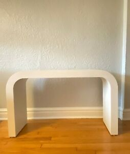 Postmodern Matte Formica Laminate Cream Colored Waterfall Console Or Sofa Table